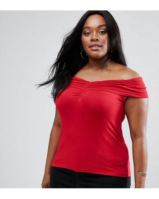 ASOS | Red Off Shoulder Top With Ruched Detail | Lyst