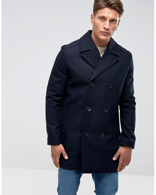 French Connection - Blue Wool Pea Coat for Men - Lyst ...