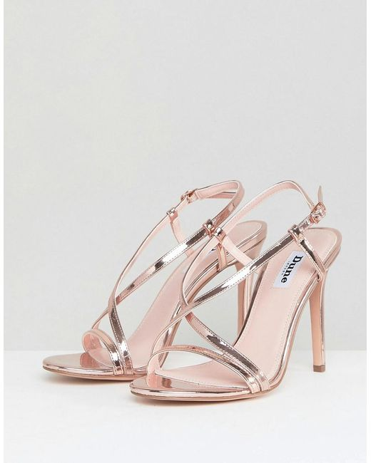 638ae3e8e1ee6 ... Dune - Metallic Strappy Rose Gold Heeled Sandal - Lyst