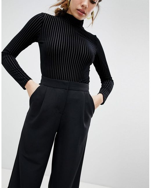 Monki - Wide Leg Cropped Pants In Black - Lyst
