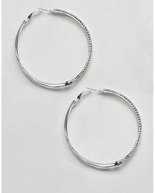 River Island - White Diamante Hoop Earrings In Silver - Lyst