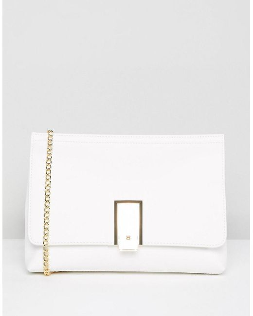ASOS - White Chunky Pinch Lock Clutch With Detachable Chain Strap - Lyst