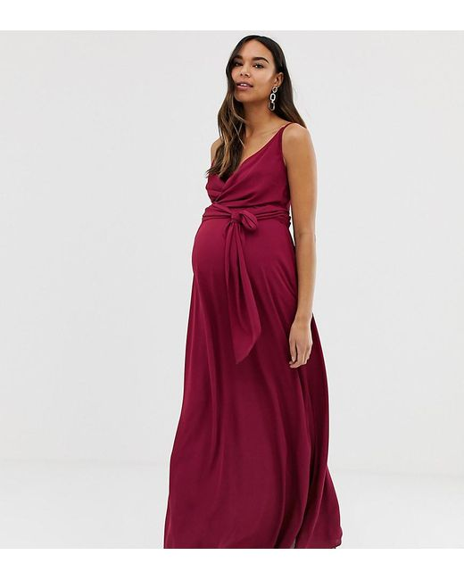 88282b7d67c ASOS - Purple Asos Design Maternity Cami Wrap Maxi Dress With Tie Waist -  Lyst ...