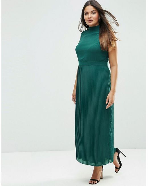 lovedrobe plus maxi dress with pleated skirt navy in