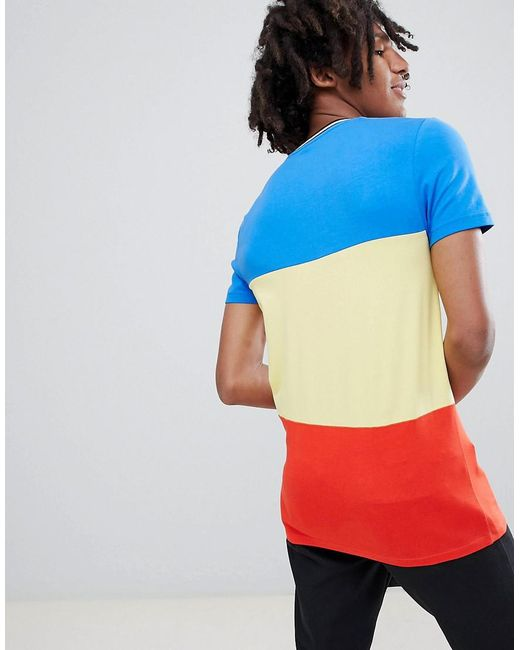 895824fc ... ASOS - Blue Muscle Fit T-shirt In Primary Colour Block And Monochrome  Tipping for