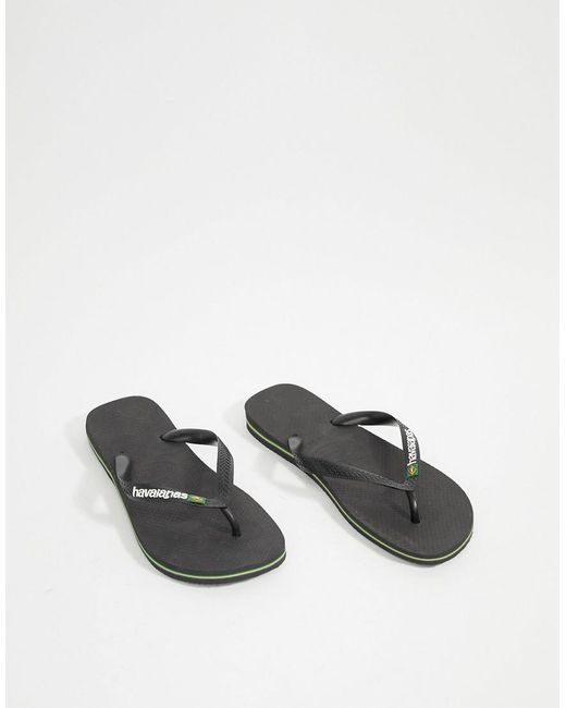 355fe9ed269f4 Havaianas Brasil Logo Flip Flops In Black in Black for Men - Lyst