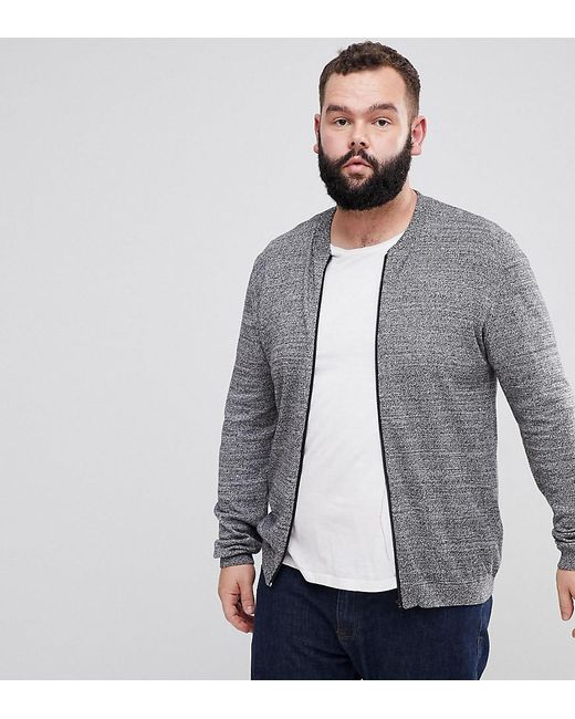 ASOS - Plus Knitted Cotton Bomber In Gray Twist for Men - Lyst