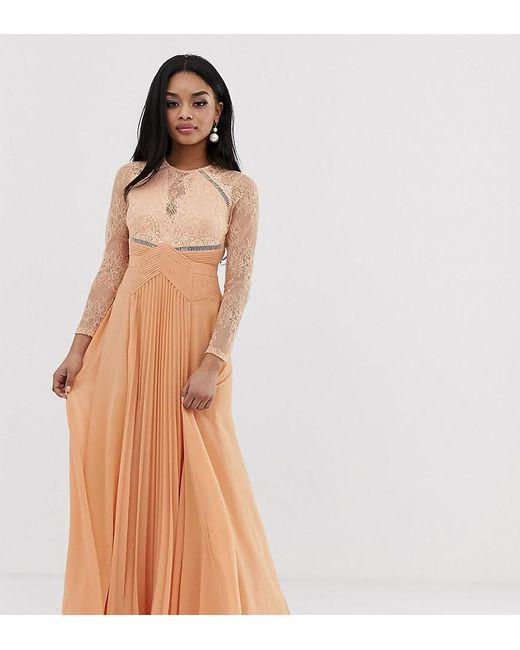 b7792aeb1ecd ASOS - Brown Asos Design Petite Long Sleeve Lace Panelled Pleat Maxi Dress  - Lyst ...