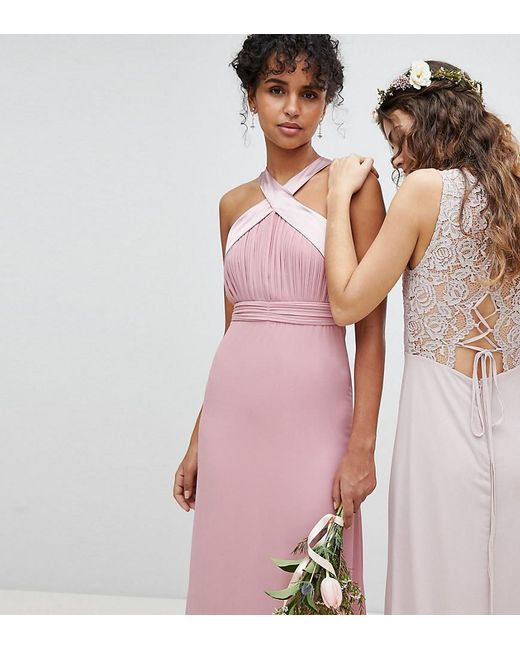 TFNC London - Pink Bow Back Pleated Maxi Bridesmaid Dress - Lyst