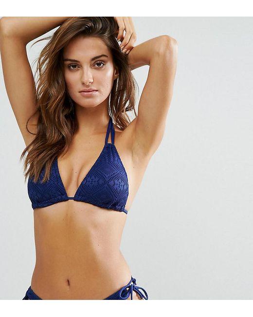 43b7b21ab8f3a DORINA - Blue Exclusive Triangle Crochet Bikini Top In Navy - Lyst ...