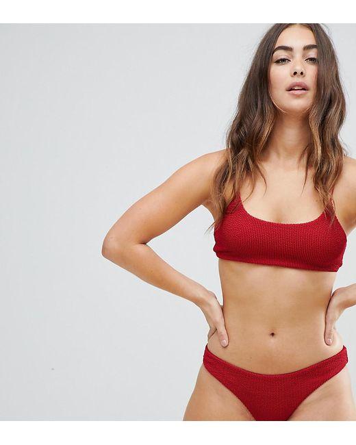979b5625a5a574 Lyst - Weekday Sun Textured Crop Bikini Top in Red