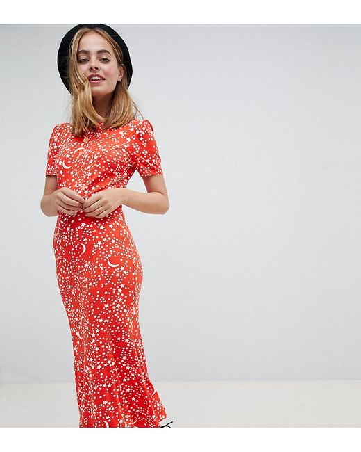 8ae8f7ad111 ASOS - Red Asos Design Petite City Maxi Tea Dress In Star Print - Lyst ...