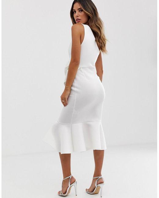12ee23c27e ... ASOS - White One Shoulder Tuck Detail Midi Dress - Lyst