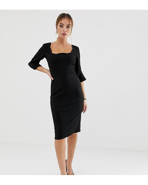 83332c5c2f9bf ASOS - Black Asos Design Petite Scallop Neck Pencil Dress - Lyst ...
