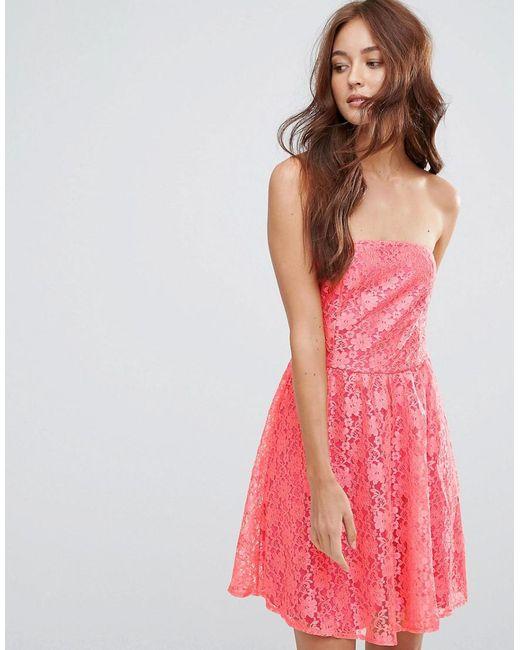 Zibi London | Red Lace Bandeau Skater Dress | Lyst