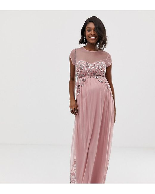 c6dac73a92 Maya Maternity - Pink All Over Premium Embellished Mesh Cap Sleeve Maxi  Dress In Vintage Rose ...