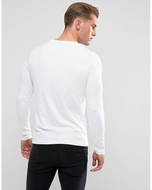 d0991befbbed ... ASOS - Muscle Fit Long Sleeve T-shirt With Crew Neck In White for Men