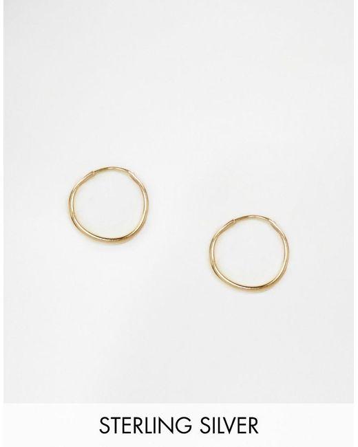 ASOS | Metallic Gold Plated Sterling Silver 9mm Hoop Earrings | Lyst