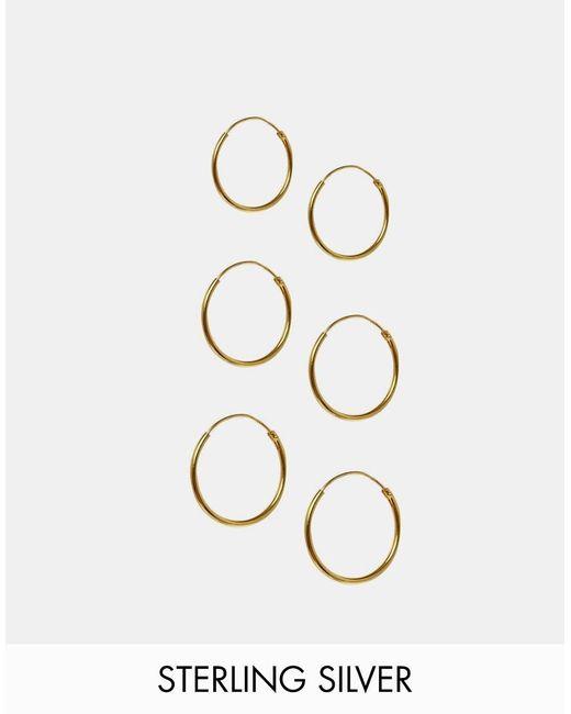 ASOS | Metallic Pack Of 3 Gold Plated Sterling Silver Hoop Earrings | Lyst
