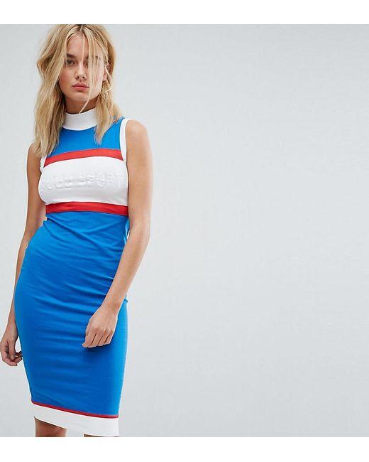 Le Coq Sportif - Blue Exclusive To Asos High Neck Midi Dress - Lyst