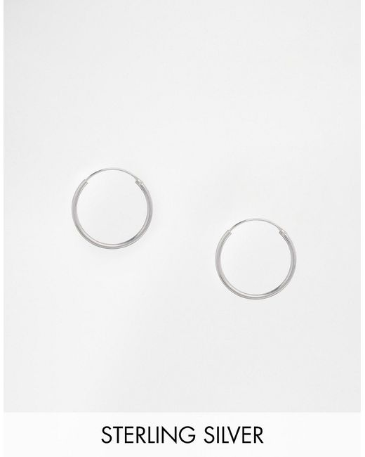 ASOS | Metallic Sterling Silver 20mm Hoop Earrings | Lyst