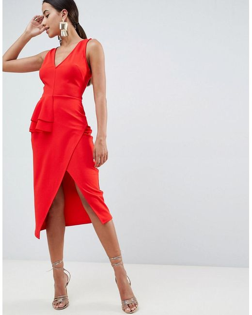ASOS - Red Pencil Dress With Peplum Waist And Contrast Straps - Lyst