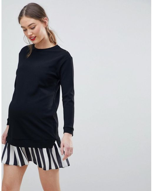 ASOS Black Asos Design Maternity 2 In 1 Sweat Dress With Stripe Pleated Hem