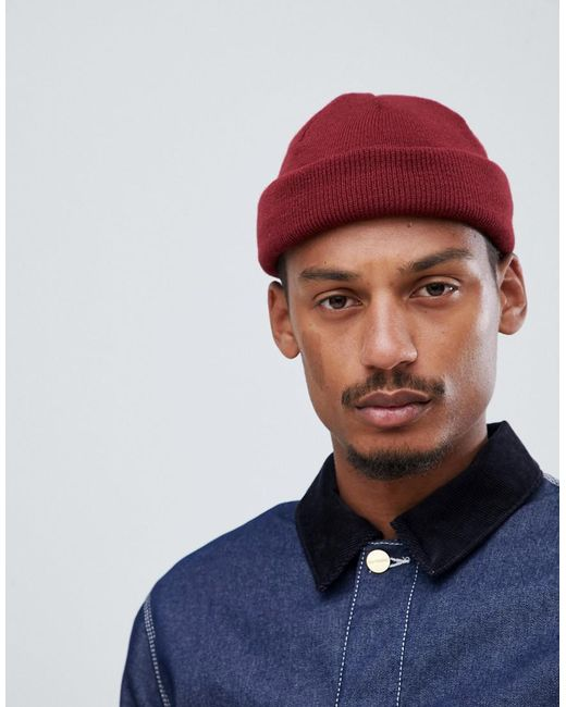 f1c02908514880 ASOS - Red Mini Fisherman Beanie In Burgundy for Men - Lyst ...