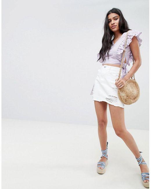 Glamorous - White Mini Skirt With Raw Hem And Distressing In Denim - Lyst