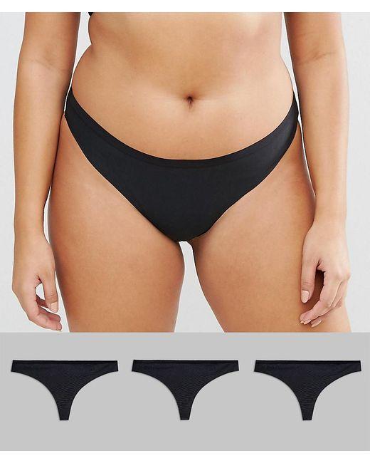 ASOS - Black Asos Design Curve 3 Pack Seam Free Thongs - Lyst