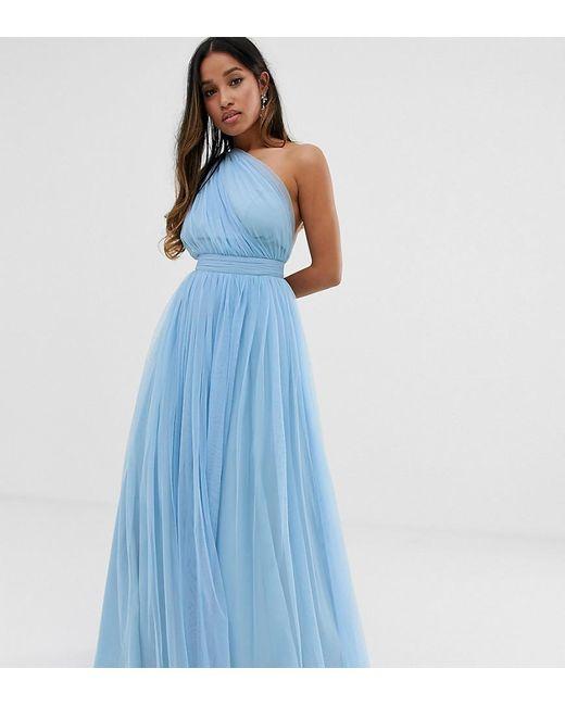 340c0a718e10 ASOS - Blue Asos Design Petite Tulle One Shoulder Maxi Dress - Lyst ...
