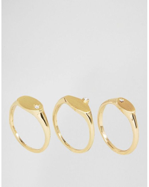 Pieces | Metallic Gem Multi Pack Rings | Lyst