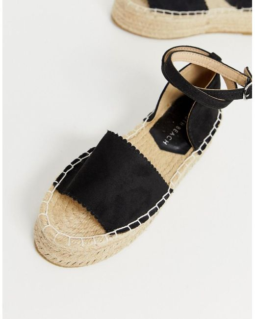 f66d97c3a116 ... South Beach - Black Flatform Sandals With Ankle Straps - Lyst