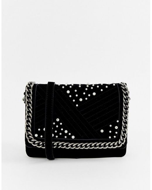 Pieces - Black Jael Cross Body Bag With Chain Handle - Lyst