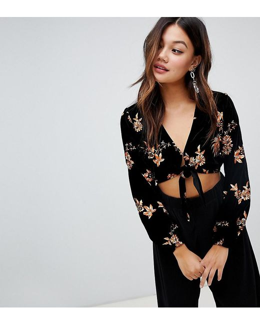 14f30cb236d454 Miss Selfridge - Floral Embroidered Blouse With Tie Front In Black Velvet -  Lyst ...