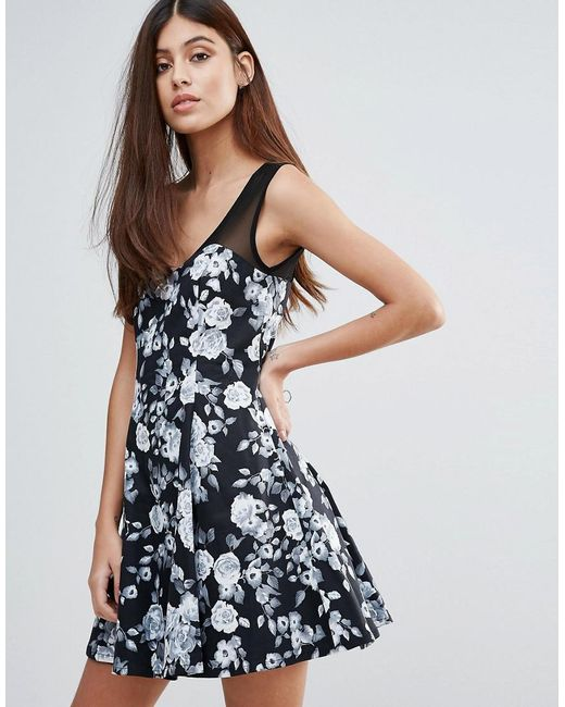 Zibi London | Black Floral Skater Dress | Lyst