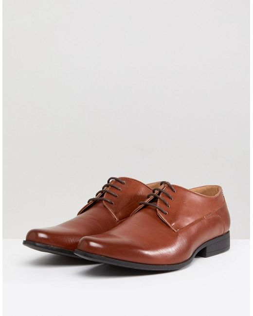 Wide Fit Lace Up Derby Shoes In Tan Faux Leather - Tan Asos 6l7hp1
