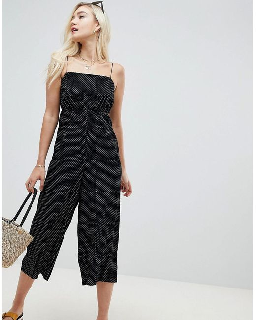 ASOS DESIGN Pinny Jumpsuit In Spot Print Cheap Sale Outlet 3cgLhMQI0