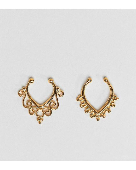 ASOS - Metallic Design Pack Of 2 Faux Nose Rings In Gold Plated Sterling Silver In Ornate Cut Out Design - Lyst