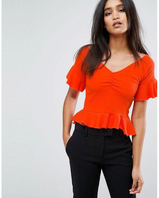 Mango | Orange Off The Shoulder Frill Hem And Sleeve In Rib | Lyst