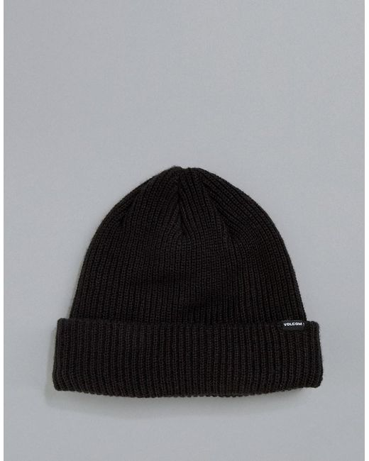 f5266af34ed Lyst - Volcom Sweep Fleece Lined Beanie In Black in Black for Men