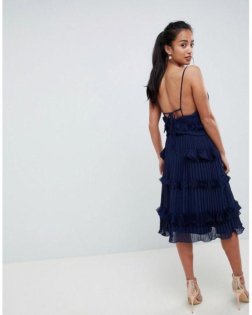 5c9621e242c23 ... True Decadence - Blue Premium Pleated Ruffle Skater Dress - Lyst