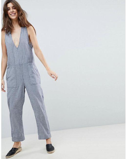 Rhythm - Blue Beach Castaway Stripe Jumpsuit - Lyst
