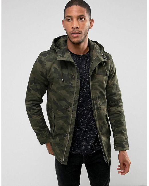 Only & sons Padded Parka With Camo Print in Green for Men | Lyst