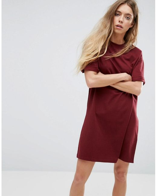 ea6b382d54e Lyst - ASOS Asos Ultimate T-shirt Dress With Rolled Sleeves in Red ...