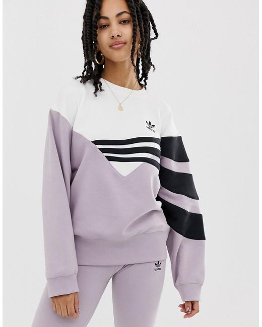 8b0176bd4758 Adidas Originals - Purple Linear Sweater In Lilac And Black - Lyst ...