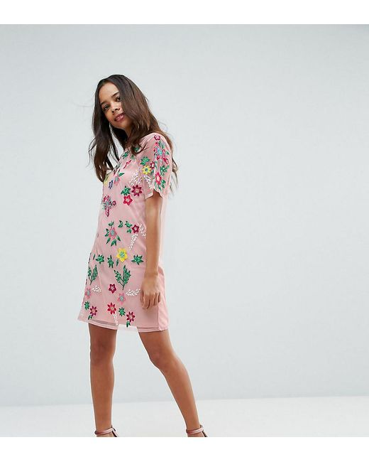 73c344dcb0 ASOS - Pink Premium Mesh T-shirt Dress With Floral Embroidery - Lyst ...