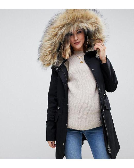 9f191136409a8 ASOS - Black Asos Design Maternity Parka With Detachable Faux Fur Liner -  Lyst ...
