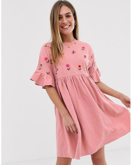1d5ceec0cc5f ASOS - Pink Floral Embroidered Frill Sleeve Smock Dress - Lyst ...