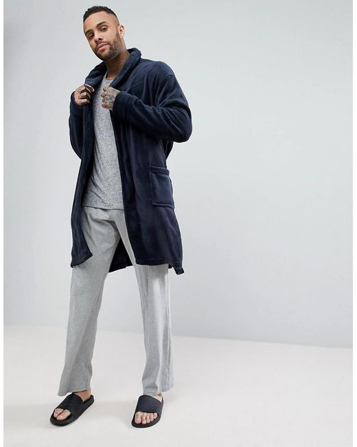 Lyst - New Look Dressing Gown In Navy in Blue for Men
